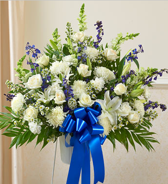 Blue Amp White Sympathy Flowers Casket Manufacturer Of