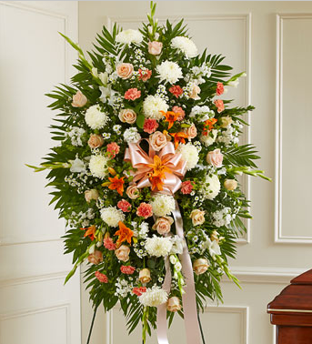 Peach Sympathy Flowers Casket Manufacturer Of Wood