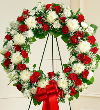 Sympathy wreath red & white