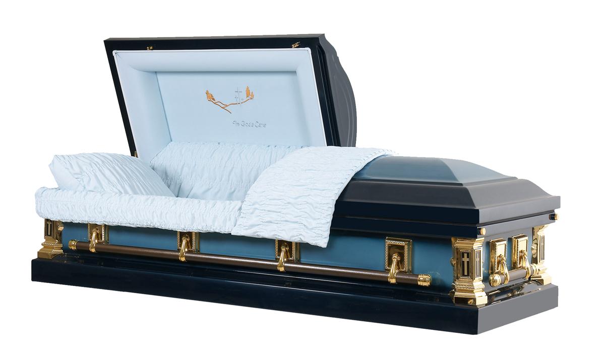 blue metal funeral caskets