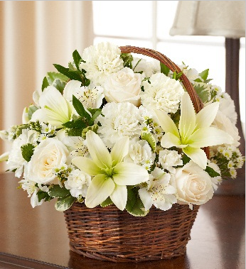 Sympathy white flower basket