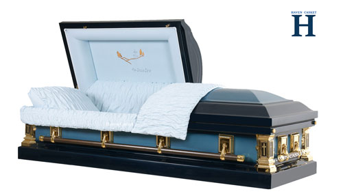 blue metal casket hw100