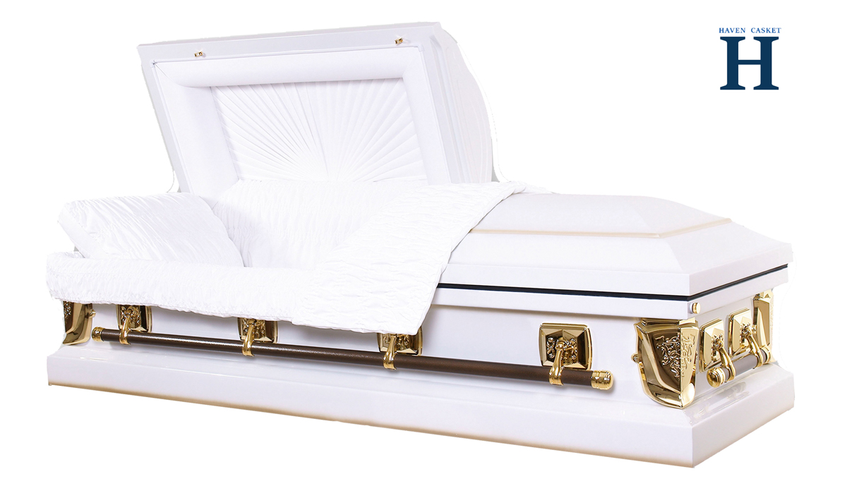 white metal casket mc117