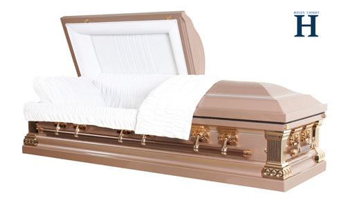 pink metal casket