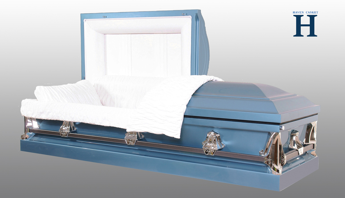 Monarch Blue metal casket MC106