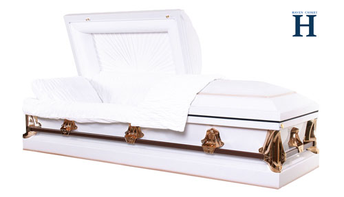white metal casket mc107