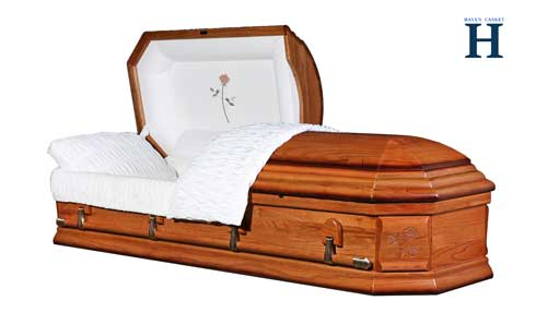 honey oak casket