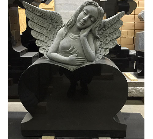 angel black headstone