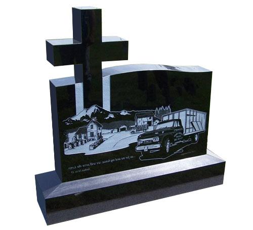 cross black headstone