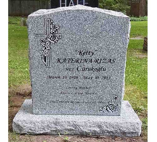 light grey headstone