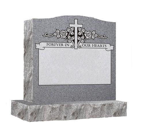 grey single serpentine headstone
