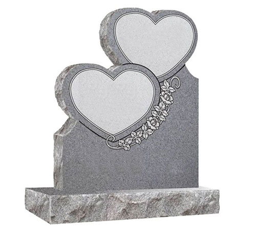 grey double heart headstone