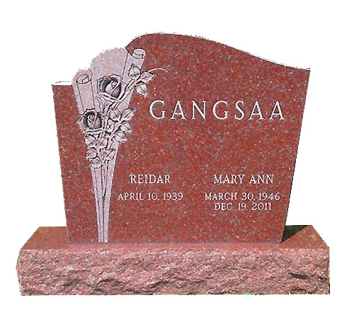 custom rose headstone