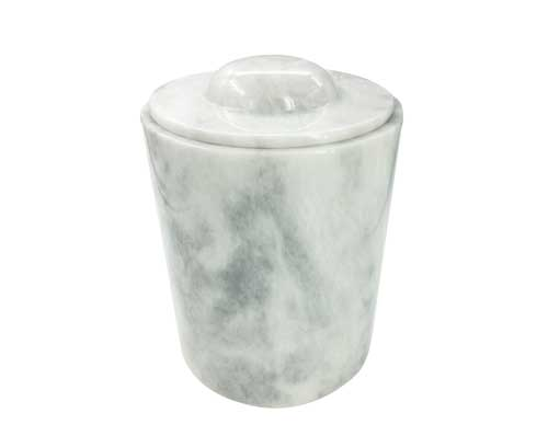 white marble urn