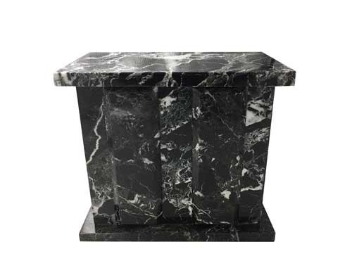 black zebra marble urn