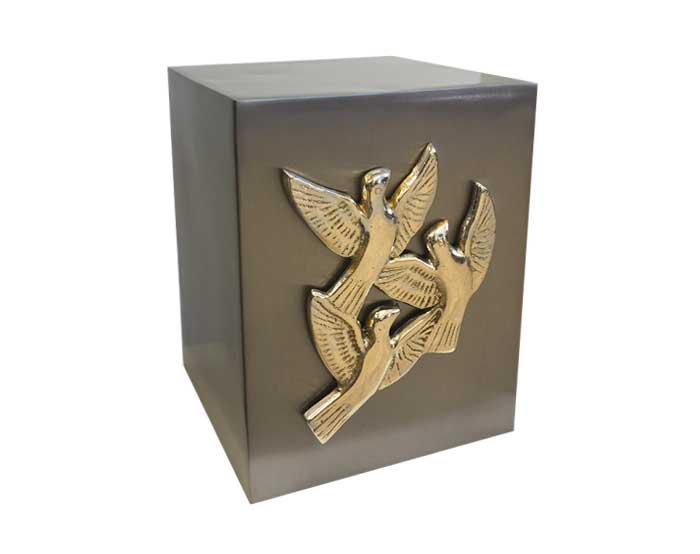 Dove Cube Metal Urn MU182
