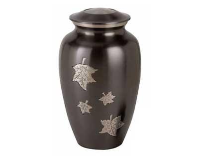 silver leaf metal urn