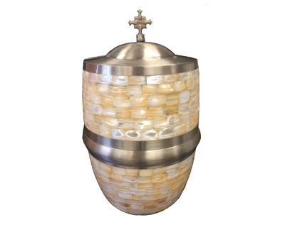 mother of pearl cross urn