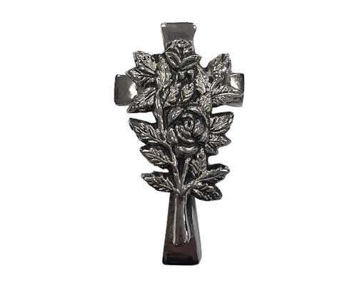 Silver Cross with Roses Ornament UO106