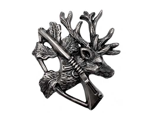 silver moose hunting ornament
