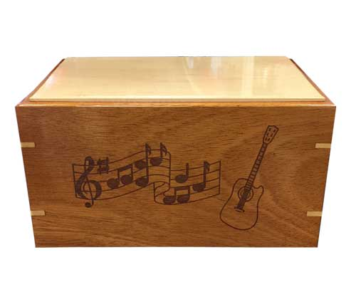 Musical note wood urn