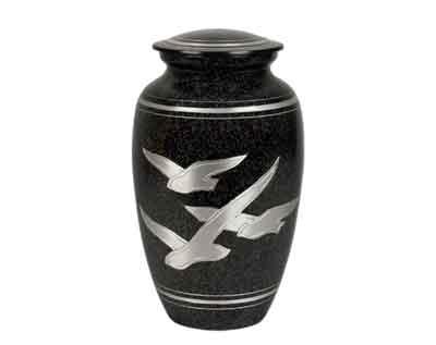 black metal urn
