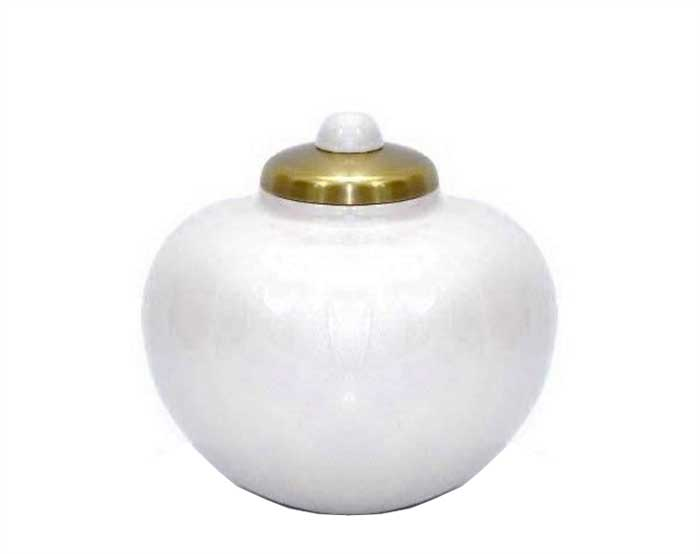 Simple White Metal Urn MU271