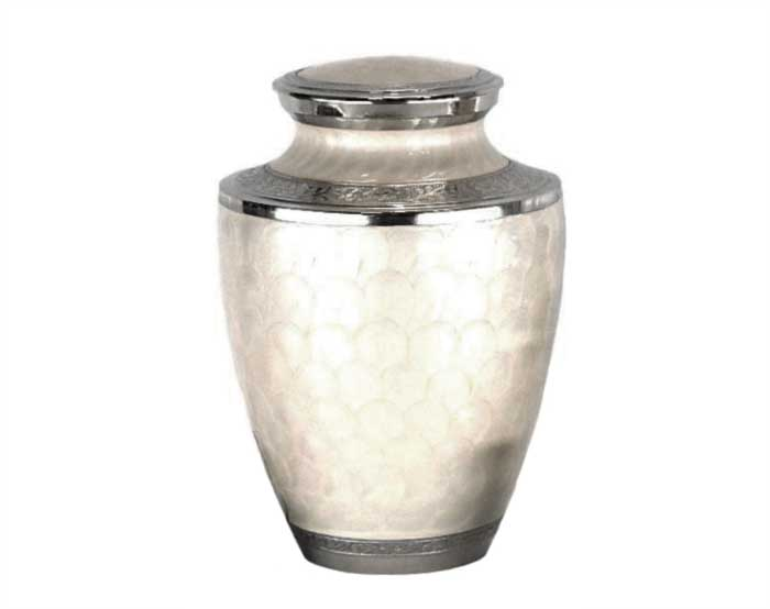 White Pearl Carnation Metal Urn MU272