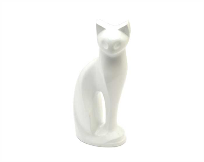 White Cat Metal Urn MU111