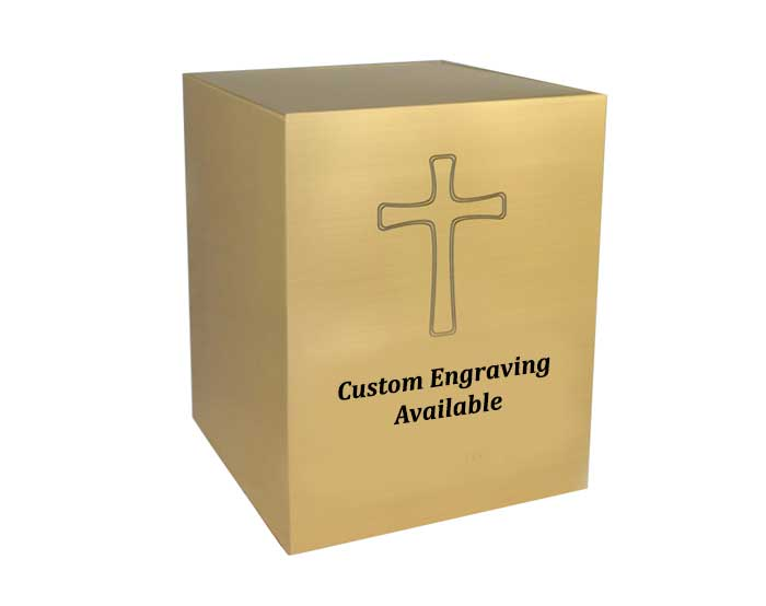 Memorial Cube Urn with Engravings