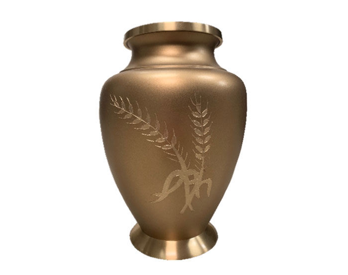 Golden Wheat Metal Urn MU321