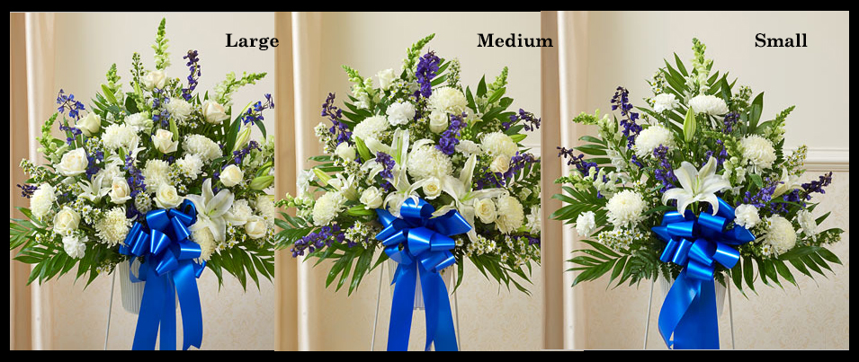 Blue & White Flowers Standing Basket SF103