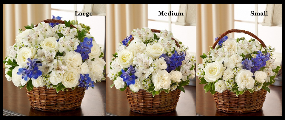 Blue & White Sympathy Basket Arrangement SF105