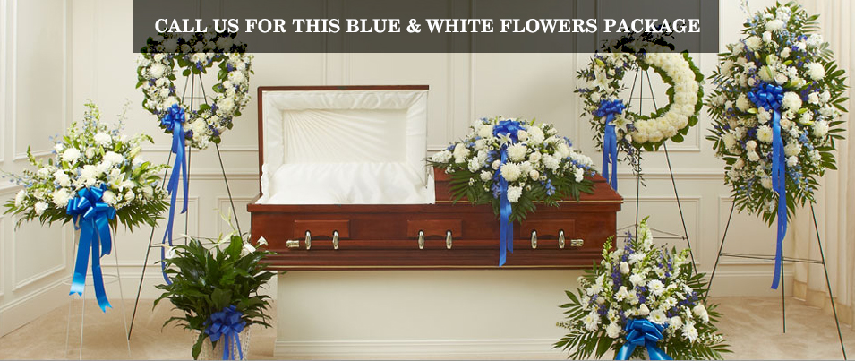 Blue & White Sympathy Flowers Package