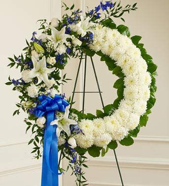 Blue & White Funeral Wreath