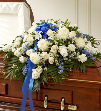 Blue & White Casket Spray SF100