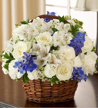 blue and white sympathy flower basket