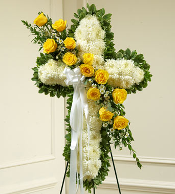 sympathy standing spray with yellow & white flowers