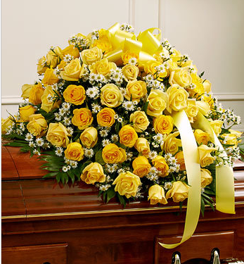 funeral yellow roses casket spray