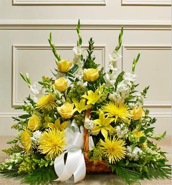 sympathy yellow funeral flower basket