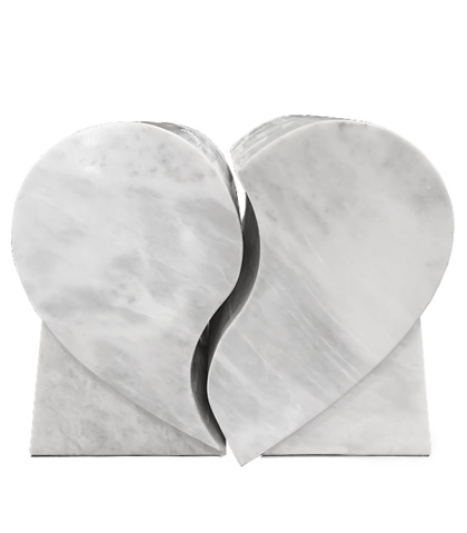 white marble heart companion urn set