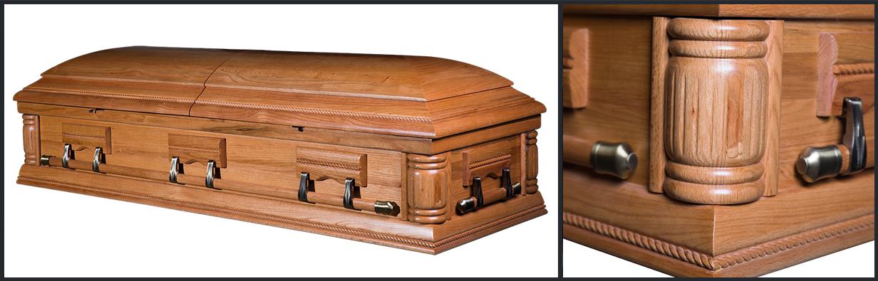 Oak Wood Casket closed casket HW114