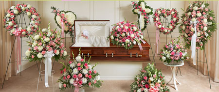 Pink & White sympathy flowers