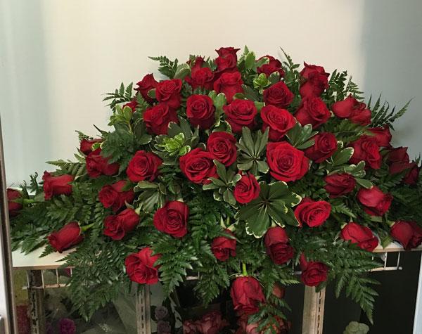 Red Casket Spray Sympathy Flowers