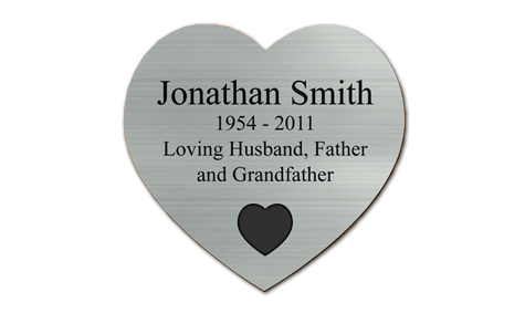 silver heart plate engrave