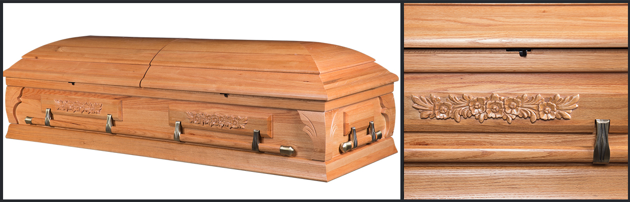 Oak Wood Casket closed casket HW111
