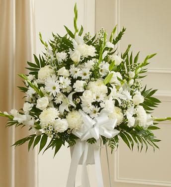 white sympathy flowers standing spray
