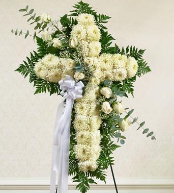 white cross funeral flower