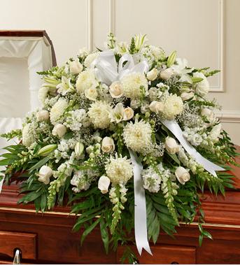 funeral casket spray white