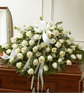 sympathy white casket spray